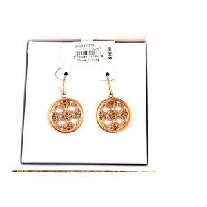 NWT Michael Kors Rose Gold MK Monogram Earrings